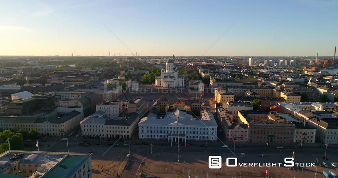 Helsinki Cityscape, Aerial Descending Tilt View of the Helsinki Cathedral and the City, on a Sunny Summer Evening Dusk, in Helsingfors, Uusimaa, Finland