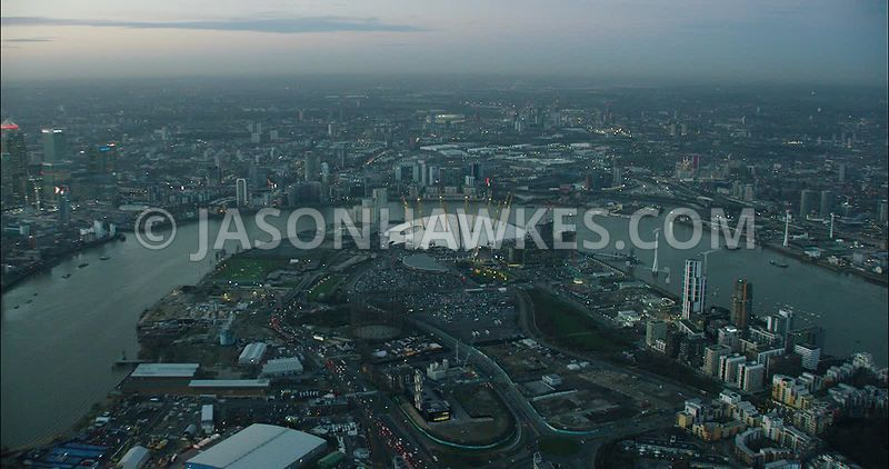 London Aerial Footage Greenwich Peninsula at night.