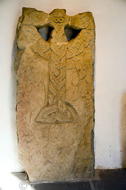 Crux Christi plaitwork cross slab 9/10th Century, Margam Stones Museum, Neath Port Talbot, South Wales, UK.