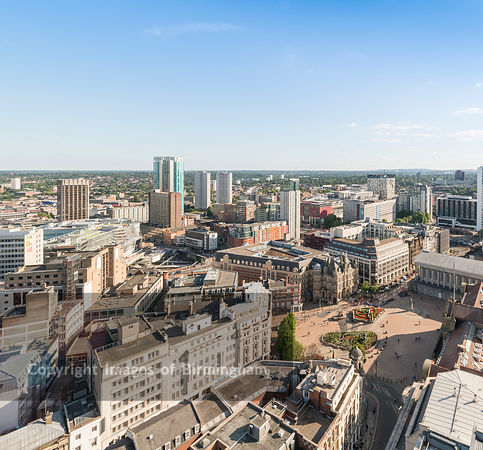 Aerial photograph of Birmingham City Centre, England. Victoria Square