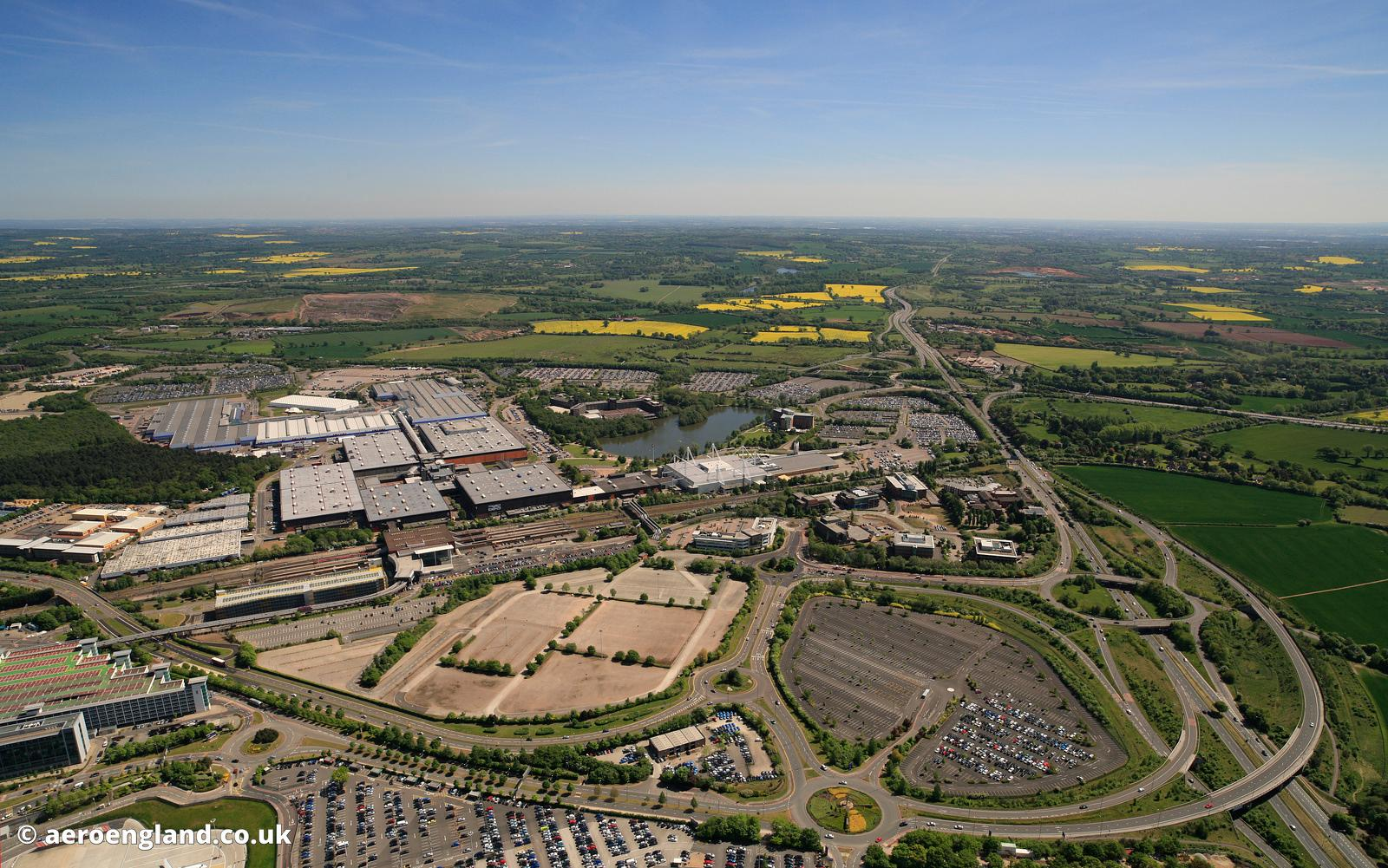 aerial photograph of the National Exhibition Centre (NEC) in Birmingham West Midlands UK..
