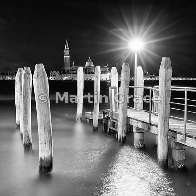 Black & white conversion of Bacino di San Marco (St Mark's Basin) with San Giorgio Maggiore (church) beyond, at night, Venice, Italy