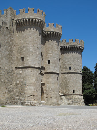 Hospitaller or the Order of St. John Grand Master's Palace entrance and Flank Towers, Rhodes, Greece