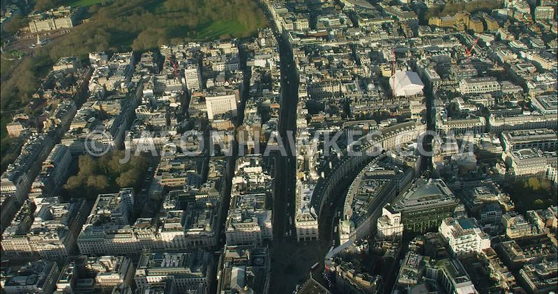 London Aerial Footage St James's with Mayfair towards Marylebone and Regent Park.