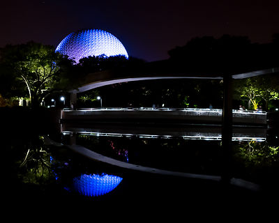 Spaceship Earth Night Reflection