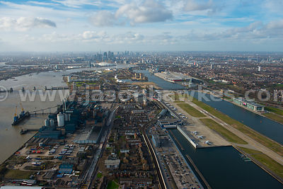 Aerial view of Silvertown and City Airport, London