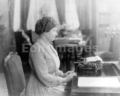 Helen Keller uses Braille typewriter