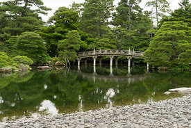 Traditional Japanese garden at Kyoto Imperial Palace in Kyoto, Japan.