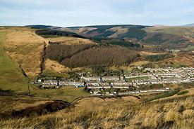View of Cwmparc and the Rhondda Valley from Bwlch Y Clawdd, South Wales Valleys, UK.