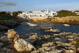 The Fishermans Village or Pueblo de Pescadores designed in 1972 by architect Antoni Sintes in traditional Menorcan style, Binibeca, Menorca, Balearic Islands, Spain.