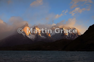 The Torres del Paine at sunrise, Torres del Paine National Park, Patagonia, Region XII Magallanes y Antartica Chilena, Chile