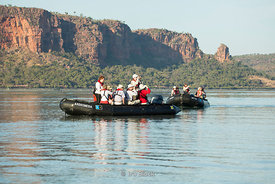 Zodiac from National Geographic Orion on the Hunter River in the Kimberley region of Western Australia.