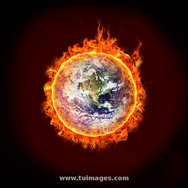 global warming, earth is on fire, a burning earth