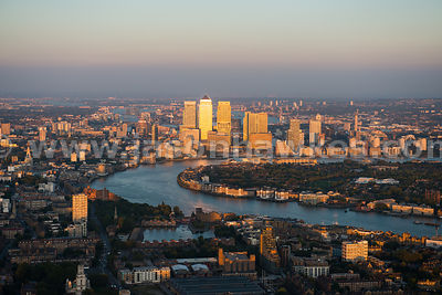 Aerial view of Canary Wharf at sunset, London