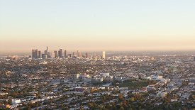 Bird's Eye: Subtle Sunset Reveal Of A Gold Specked Los Angeles