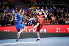 Iman Jamali and Gasper Marguc during the Final Tournament - Final Four - SEHA - Gazprom league, Telekom Veszprém - Meshkov Brest in Brest, Belarus, 07.04.2017, Mandatory Credit ©SEHA/ Stanko Gruden
