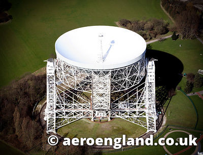 aerial photograph of the  Jodrell Bank Observatory Cheshire England UK