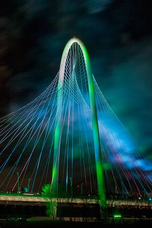 The Margaret Hunt Hill Bridge with Smoke and Light Show
