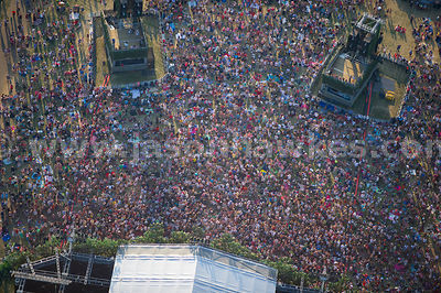 London. Aerial view of crowds in Hyde Park