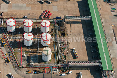 Aerial view over oil plant