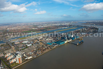 Aerial view of Silvertown and North Woolwich, London