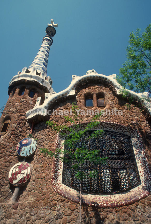 Works of Antoni Gaudi, Barcelona, Spain. Park Güell, Pavilion at Entrance