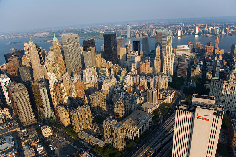 An aerial view of Lower Manhattan, New York City.  (Verizon building in lower right corner)