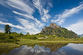 Mt. Forgotten and cirrus clouds viewed from a glacial tarn in Mt. Forgotten Meadows, Mt. Baker-Snoqualmie National Forest, Cascade Mountains, Washington, USA, August, 2008_WA_4613
