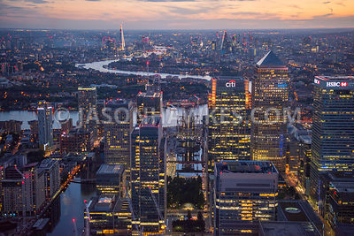 Aerial view of London, Canary Wharf at night.