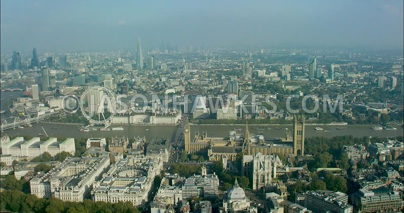 London Aerial Footage Westminster Bridge to  Charing Cross Station