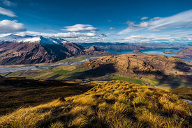 Wanaka Lake and Matukituki river from Trebble Cone