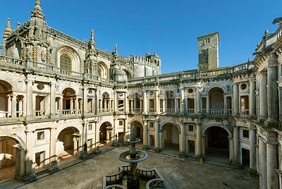 The Main Cloister is a work of the Renaissance convent built by King John III. Convent of Christ, Tomar. Portugal