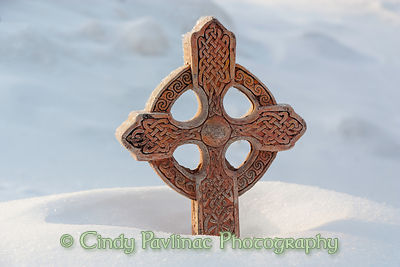 Celtic Cross Sunlit in Snow