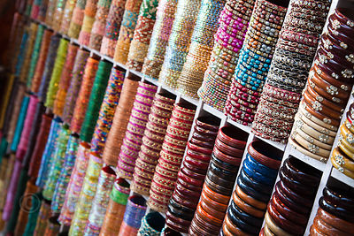Bangles for sale at a bazaar in Jaipur, Rajasthan, India