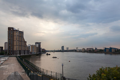 View across the River Thames from Canary Wharf and Docklands, London