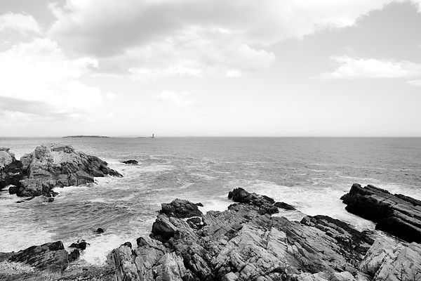PORTLAND MAINE COASTLINE BLACK AND WHITE