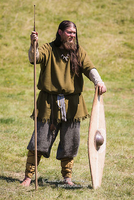 Re enactor in the costume of  an  Ancient Britain