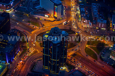 Aerial view of roundabout at night, Birmingham