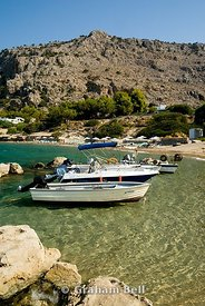 boats and mountains pefkos, lindos, rhodes, dodecanese islands, Greece.