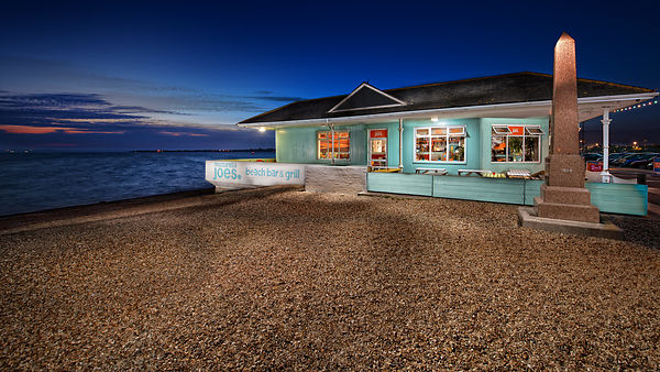 Mozzarella Joe's Southsea Beach Restaurant at Dusk.