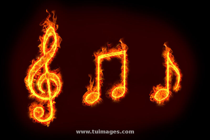 Flaming music notes black background