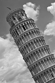 black_and_white_leaning_tower_of_Pisa