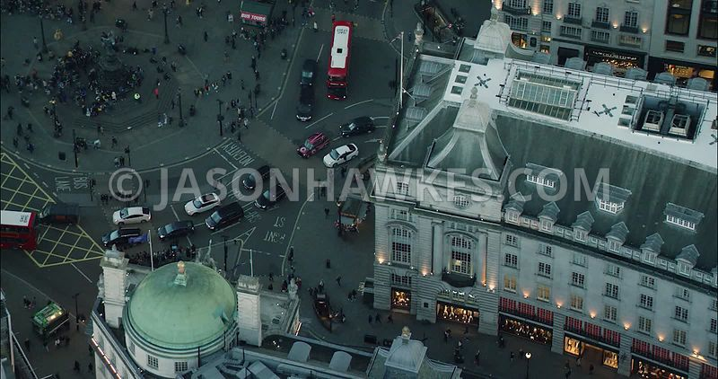 London Aerial Footage of Regent Street towards Piccadilly Circus.