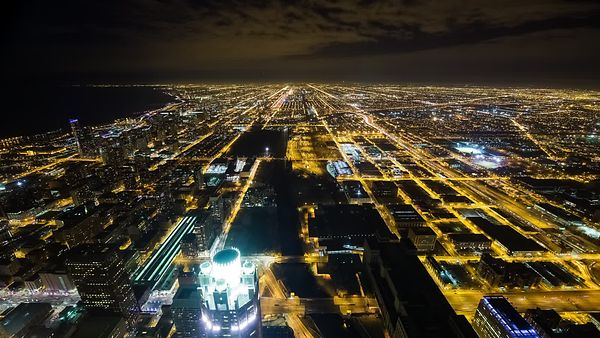 Bird's Eye: Extra Wide View of Chicago's Urban Light Grids at Night