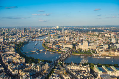 Aerial view of London, River Thames, Westminster, South Bank.