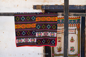 Bhutanese traditional fabric at the Gangtey Shedra in the Phobjikha Valley, Bhutan.