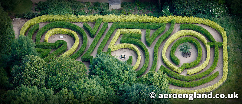 aerial photograph of maze at Painswick Rococo Garden  Gloucestershire  England UK