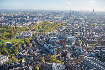 Aerial view of Victoria and Buckingham Palace, London. A302, Buckingham Palace, Cardinal Place, Grosvenor Gardens, Nova (London), Portland House, Royal Mews, St. James's Park, The Zig Zag Building, Victoria, Victoria Station Buildings, Victoria Street, Westminster Cathedral