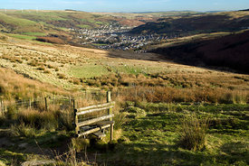 Path crossing Mynydd Maerdy, Treorchy, Rhondda Valley, South Wales.