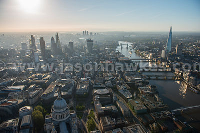 Aerial view of St Paul's and Bank, London
